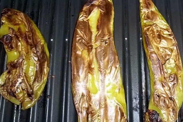 Grilled green chiles