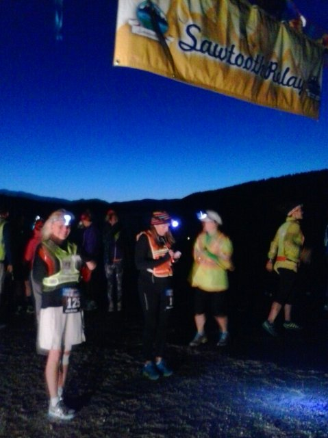Dina waits for the 5:00 a.m. starting gun at the Sawtooth Relay
