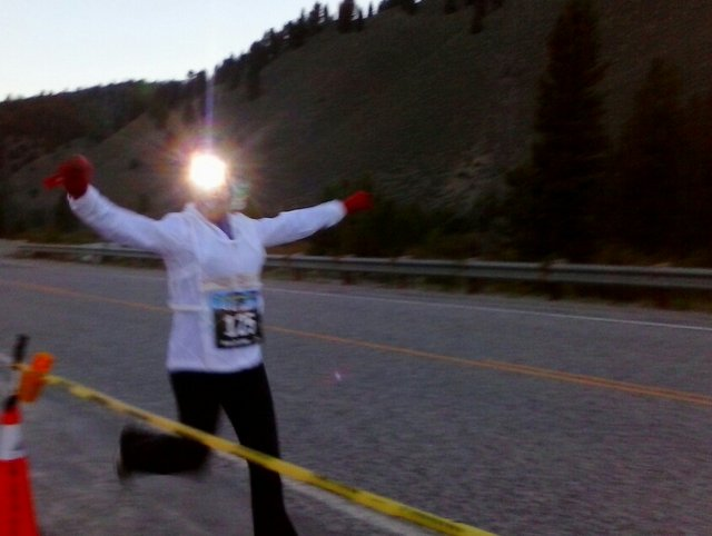Susan finishes Leg 2 at the Sawtooth Relay