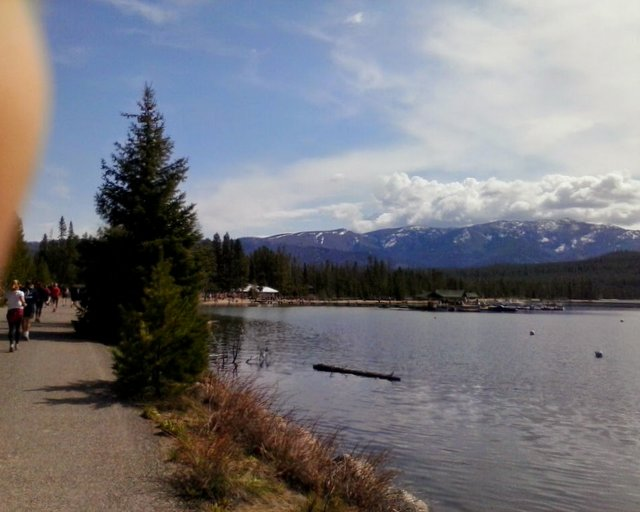 View of Redfish Lake from the 10K race course. Yep, you could pretty much hop right into the water if you wanted.